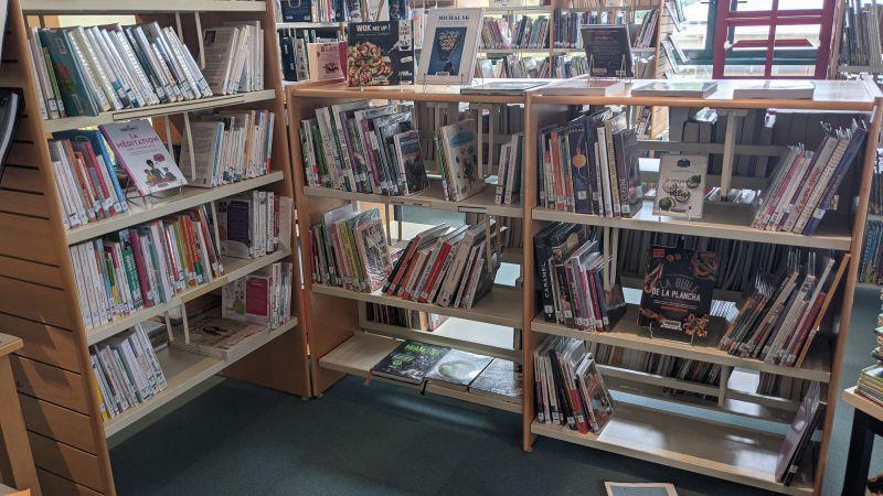 Aperçu des collections après désherbage avec mise en valeur des livres de face